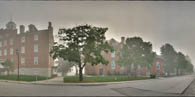Schmucker Hall, Lutheran Theological Seminary, on a foggy day