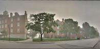 Schmucker Hall, Lutheran Theological Seminary, on a foggy day